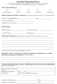 Test Incident Report Template Workplace Incident Report Form