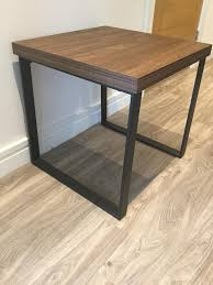 next side table in walnut with black metal legs excellent condition