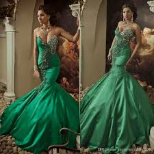 2014 green wedding gown mermaid sweetheart lace up back sweep