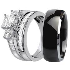 Black Wedding Band Sets His And Hers
