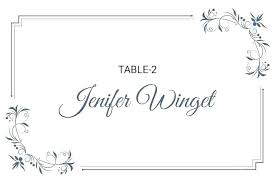Dinner Name Card Template Table Name Tag Template