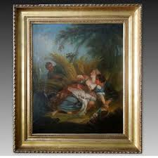 antique oil painting on canvas with frame 19th century