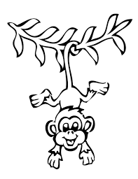 Monkey Coloring Pages Hanging By Tail Coloringstar
