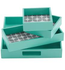 Decorative Letter Trays Teal Elena 100Piece Decorative Tray Set Everything Turquoise 75