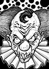 Scary Clown Coloring Page Colowing Skull Coloring Pages Witch