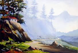 saatchi art artist samiran sarkar painting himalayan landscape acrylic on canvas painting
