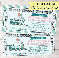 Train Birthday Invitation Train Ticket Birthday Invitation Boy