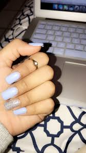 Light Blue Color With Silver Glitter Blue Acrylic Nails