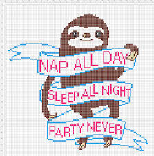 Funny Cross Stitch Patterns Free Amazing Free Sloth CrossStitch Pattern Nap All Day Sleep All Night Party