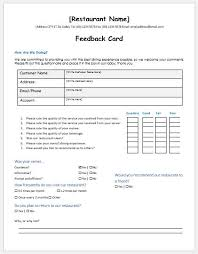 Restaurant Survey Cards Restaurant Customer Feedback Forms Ms Word Word Excel Templates