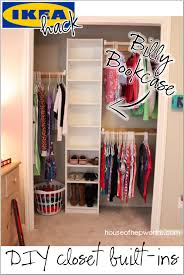 use an ikea billy bookshelf in a closet for a custom built in look with