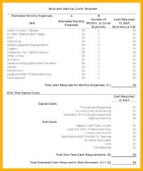 Startup Cost Template Business Plan Startup Costs Template