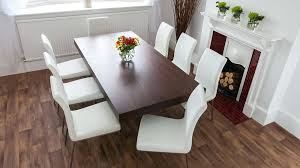 dark wood dining table with leather chairs 6 8 floating dining table and faux leather dining