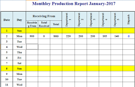 Company Production Report Template Excel 2017 Template124
