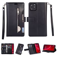 iPhone 11 Pro Max 6.5 inch Wallet Case, Dteck 9 Card Slots Premium Leather  Zipper Purse case Flip Kickstand Folio Magnetic with Wrist Strap Credit  Cash Cover For Apple iPhone 11 Pro