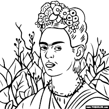 Small Picture 100 free coloring page of Frida Kahlo painting Self Portrait