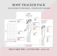 Body Tracker Printable Fitness Journal Body Progress Tracker Body Measurements Tracker Weight Tracker Fitness Tracker Health Tracker