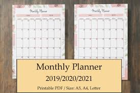 Monthly Planner 2019 Printable 2019 2020 Pink Planner Kit