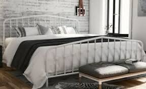 Details about King size Sturdy White Metal Platform Bed Frame with Headboard Footboard NEW
