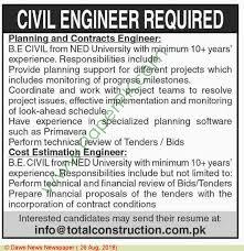 Civil Engineer Jobs In Jobs In Pakistan In Multiple Cities On August ...