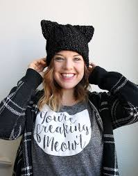 black cat slouch free crochet cat hat pattern from persia lou