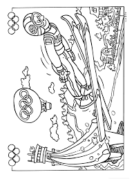 Each of these free coloring sheets include a black and white image for kids to complete by colouring and the name underneath the cute clipart to trace. Skiing Coloring Page Winter Olympics Crafts For Kids Staycurious Olympic Crafts Summer Olympics Crafts Olympics Activities