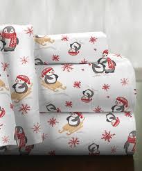 Pointehaven Bedding Penguin Flannel Deep-Pocket Sheet Set ...