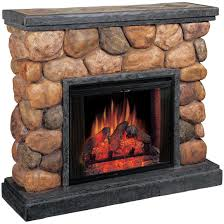 classic flame potomac electric fireplace with synthetic polished river rocks