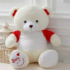 adorable teddy bear stuffed plush toy white and red bined birthday valentine s gift