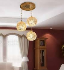 The Brighter Side Golden Crystal Hanging Light Set Of For Living Room And Home Decor Amazon In Home Kitchen