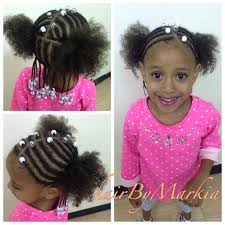 Natural Hairstyles Ponytails Little Mixed Girl Hairstyle Braids And Beads Ponytail Pink