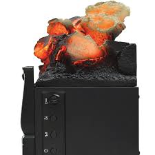infrared quartz log set heater with realistic ember bed and logs black com