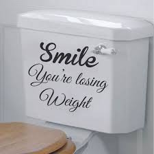 zoom on toilet wall art quotes with smile you re losing weight toilet decal trendy wall designs