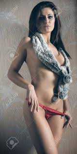 Beautiful Brunette With Fur Scarf On Her Naked Breast Taking Stock Photo Picture And Royalty Free Image Image 52769516