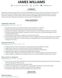 Retail Sales Associate Resume Sample Salesperson Resume Sales