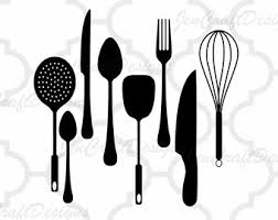 kitchen utensils split silhouette. Perfect Split Kitchen SVG Utensils Vector Digital Cut File Set In Svg Eps Dxf And PNG  Format For Cricut Silhouette On Split 2