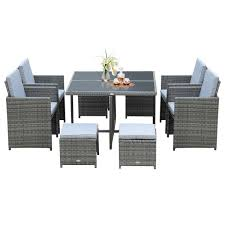 outsunny 9 piece outdoor rattan wicker