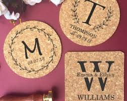Custom cork coasters Laser Engraved Personalized Cork Coaster Monogram Coasters Custom Wedding Coasters Housewarming Gift Wedding Favors Bridal Shower Save The Date Etsy Cork Coasters Etsy