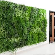 green artificial vertical grass wall