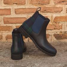 custom made women s chelsea boot in navy blue pebble grain leather with blackwatch