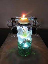 view in gallery floating candle centerpiece with flower12