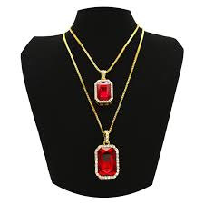 authentic 2018 hongboom hot hip hop box chain 14k gold plated cz fully iced out square ruby necklace set 00911