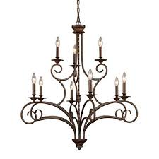 elk lighting gloucester antique bronze nine light chandelier