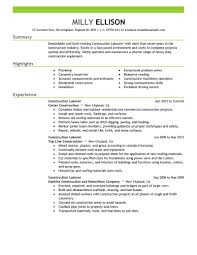 Laborer Resume Examples Construction Customer Service Resume