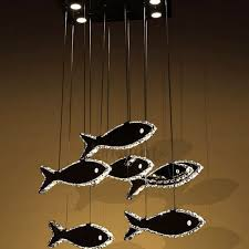 luxury stainless steel fish shaped led pendant light fixtures