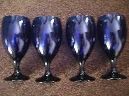 blue libbey glasses 4 x cobalt blue glass company tulip stem goblet glasses libbey cobalt blue