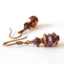 copper jewelry earrings cyclamen purple opal earrings 22nd anniversary gift ideas