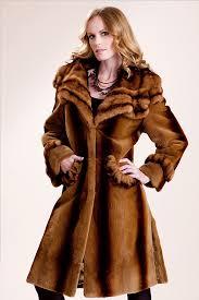 whiskey glow sheared mink walking coat