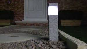 stone effect square solar post lights