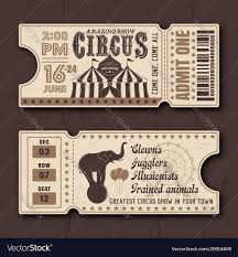 Show Ticket Template Circus Show Horizontal Tickets Templates Vector Image